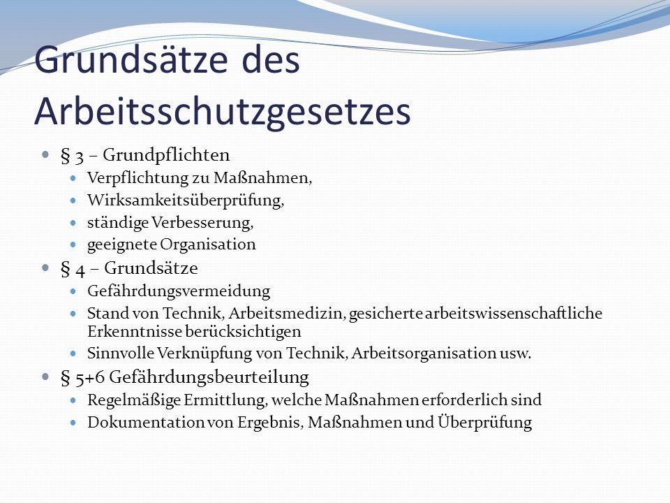 Grundsätze des Arbeitsschutzgesetzes