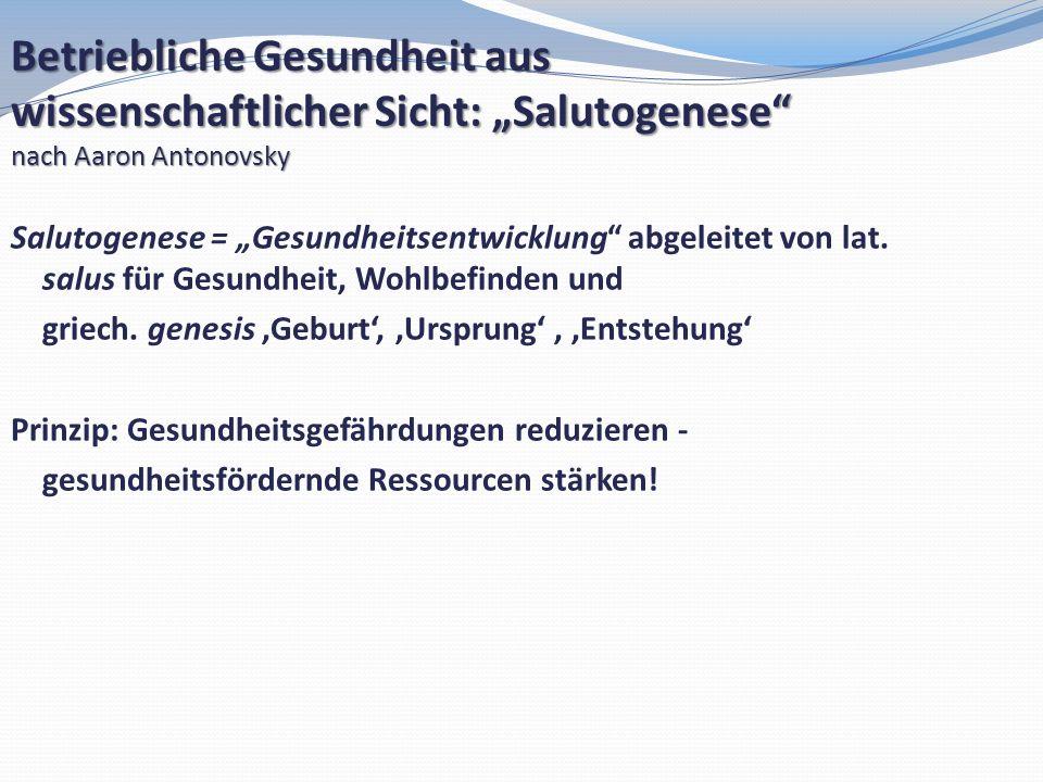 """Betriebliche Gesundheit aus wissenschaftlicher Sicht: """"Salutogenese"""
