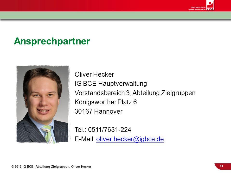 Ansprechpartner Oliver Hecker IG BCE Hauptverwaltung