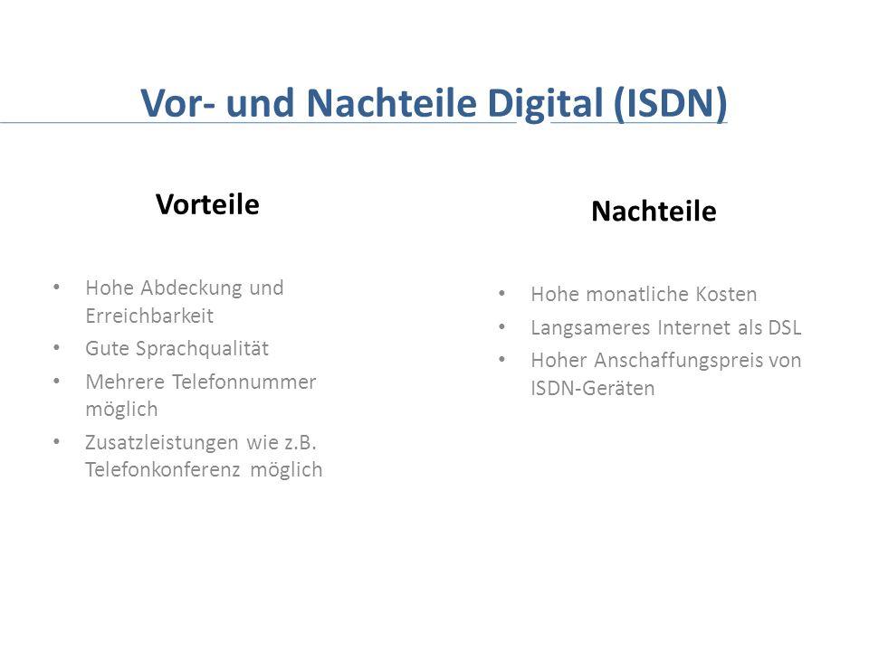 Vor- und Nachteile Digital (ISDN)