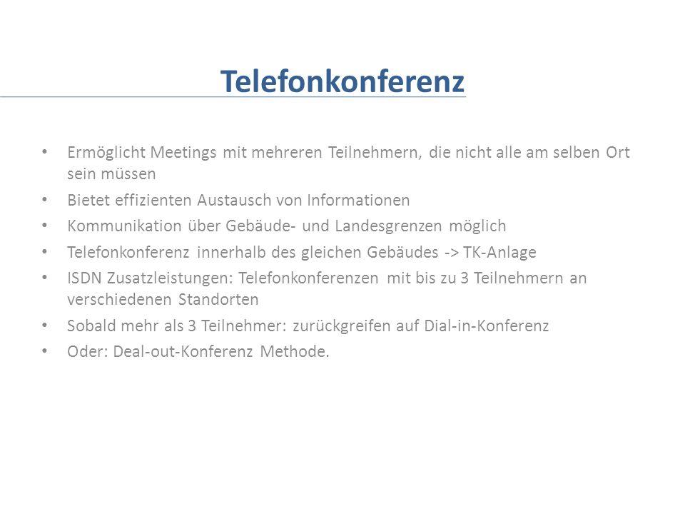 Telefonkonferenz Ermöglicht Meetings mit mehreren Teilnehmern, die nicht alle am selben Ort sein müssen.