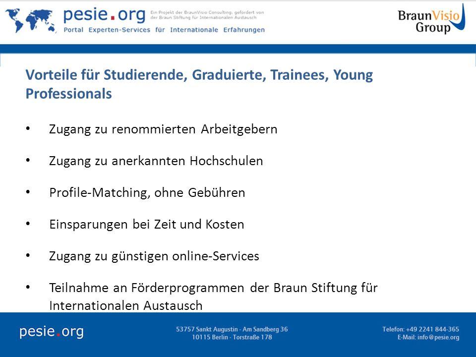 Vorteile für Studierende, Graduierte, Trainees, Young Professionals