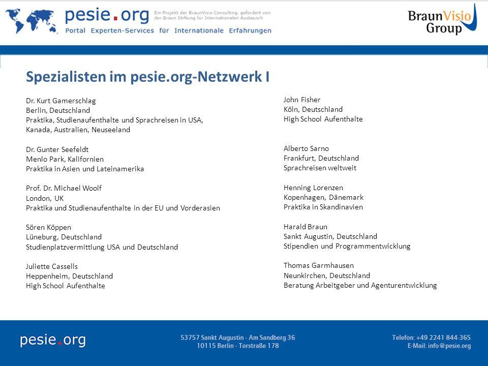 Spezialisten im pesie.org-Netzwerk I