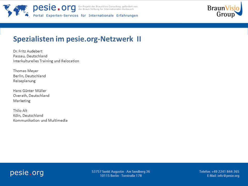 Spezialisten im pesie.org-Netzwerk II