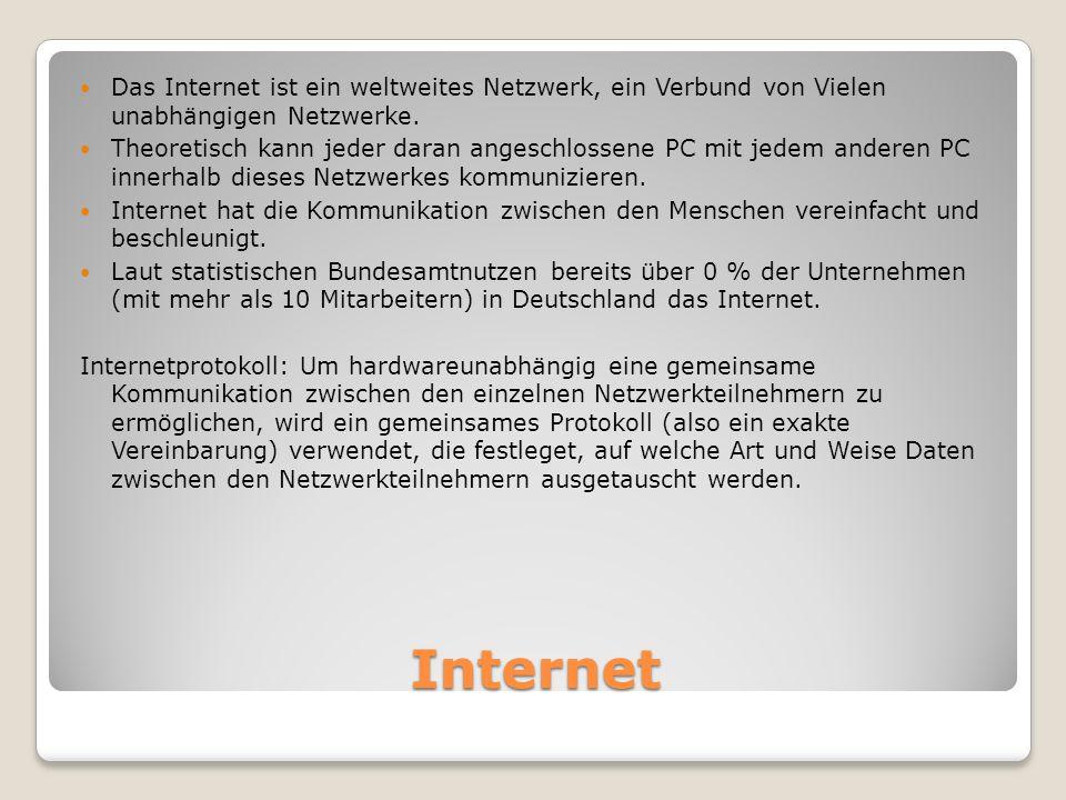 Das Internet ist ein weltweites Netzwerk, ein Verbund von Vielen unabhängigen Netzwerke.