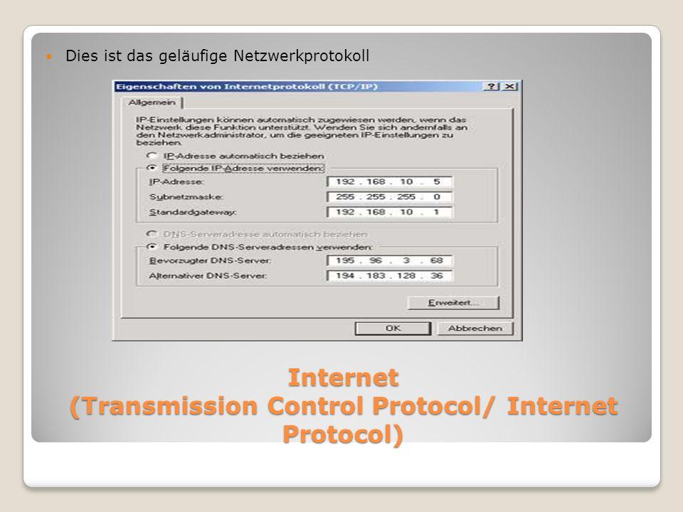 Internet (Transmission Control Protocol/ Internet Protocol)