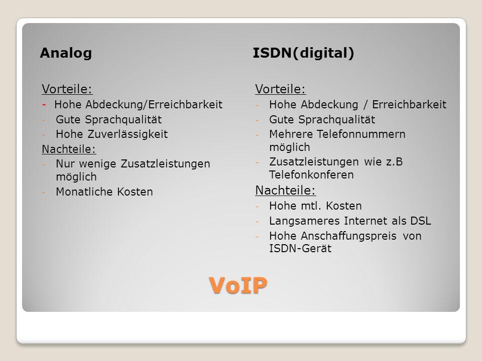 VoIP Analog ISDN(digital) Vorteile: Vorteile: Nachteile: