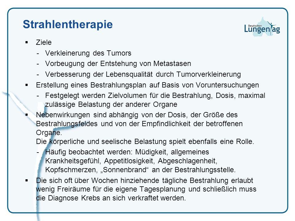 Strahlentherapie Ziele Verkleinerung des Tumors