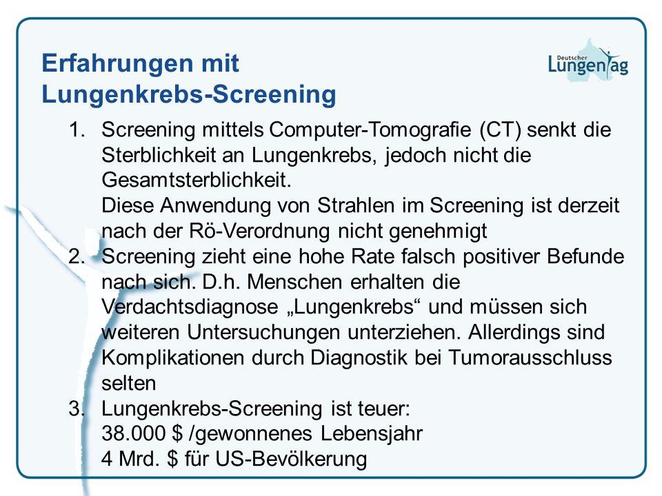 Erfahrungen mit Lungenkrebs-Screening