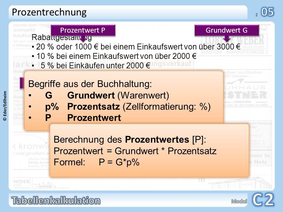 Prozentrechnung Begriffe aus der Buchhaltung: G Grundwert (Warenwert)