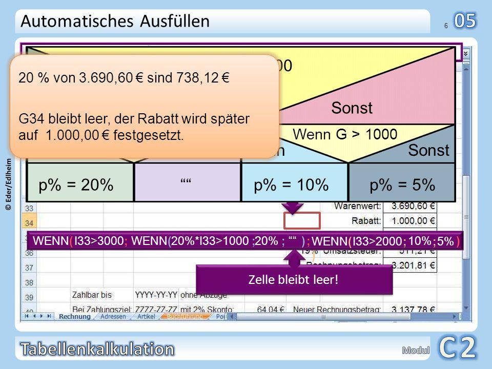 Der Kunde kann wählen: Automatisches Ausfüllen Dann Sonst p% = 20%
