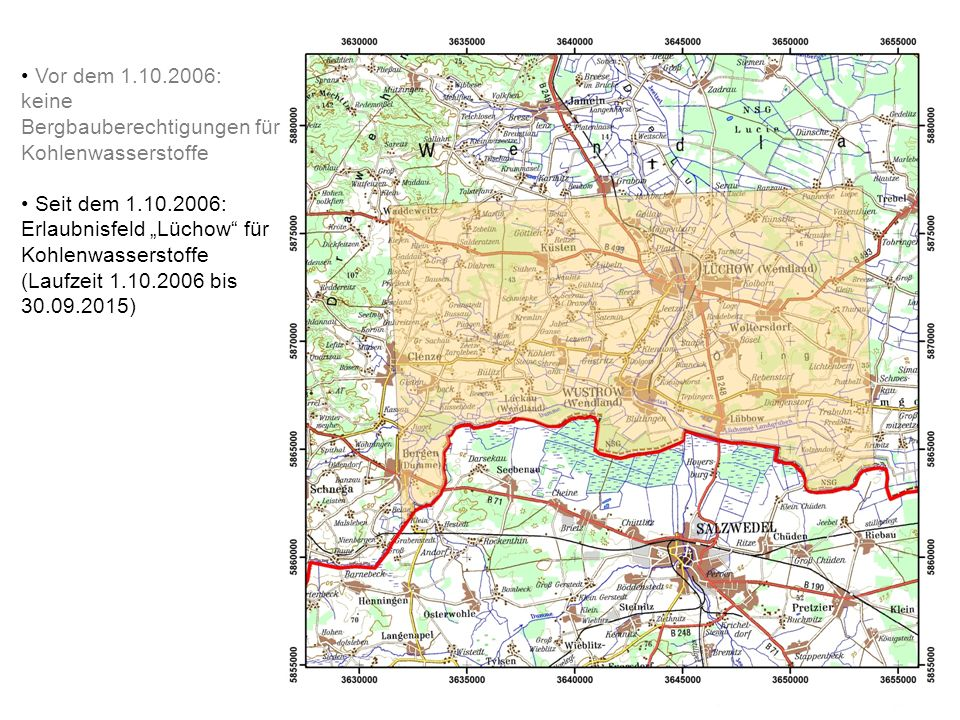 Vor dem 1.10.2006: keine Bergbauberechtigungen für Kohlenwasserstoffe.