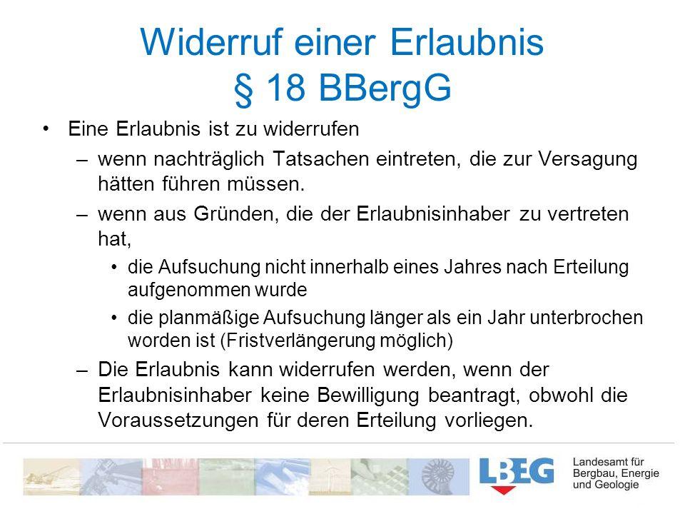 Widerruf einer Erlaubnis § 18 BBergG