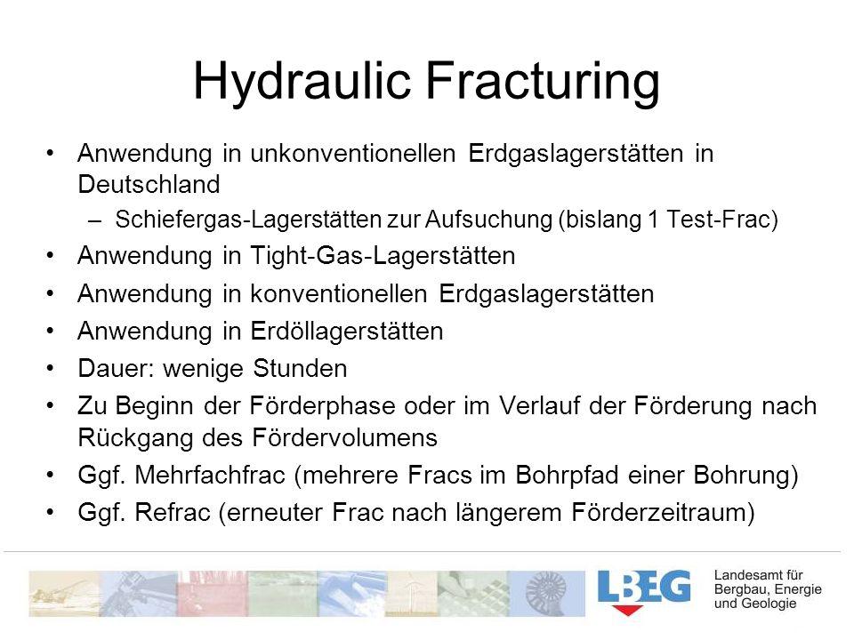 Hydraulic Fracturing Anwendung in unkonventionellen Erdgaslagerstätten in Deutschland. Schiefergas-Lagerstätten zur Aufsuchung (bislang 1 Test-Frac)