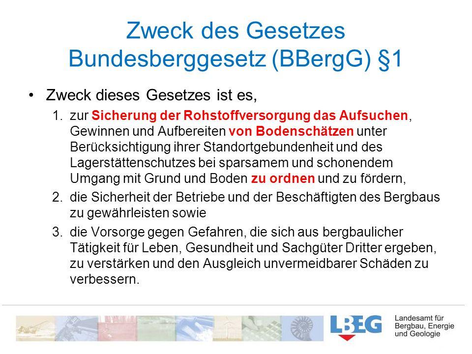 Zweck des Gesetzes Bundesberggesetz (BBergG) §1