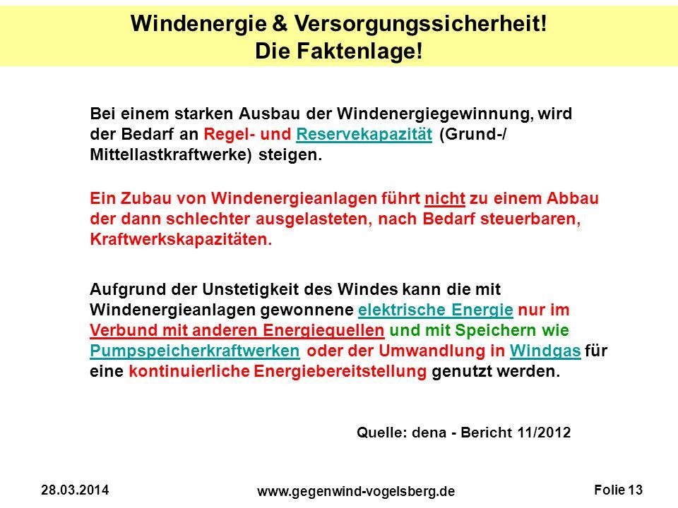 Windenergie & Versorgungssicherheit! Die Faktenlage!