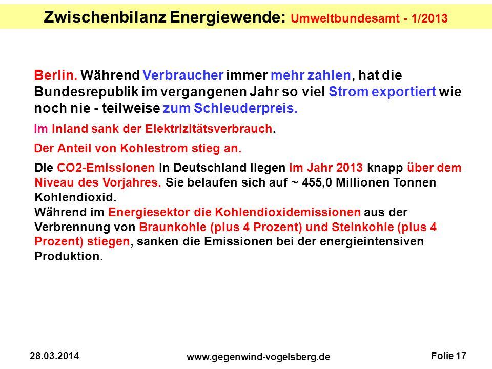 Zwischenbilanz Energiewende: Umweltbundesamt - 1/2013