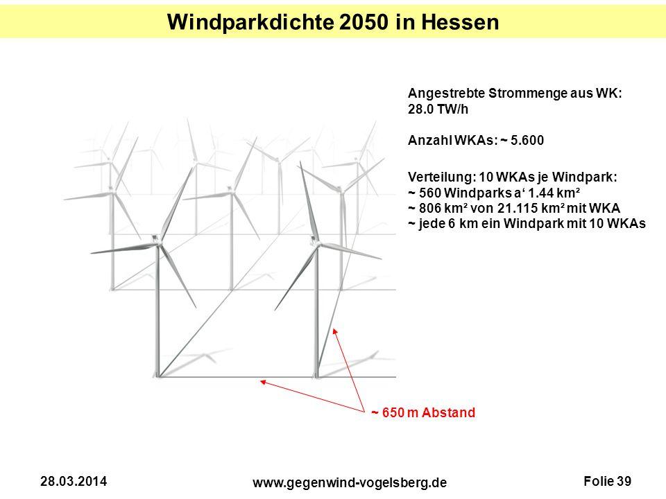 Windparkdichte 2050 in Hessen