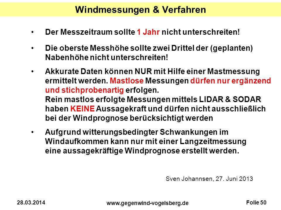 Windmessungen & Verfahren