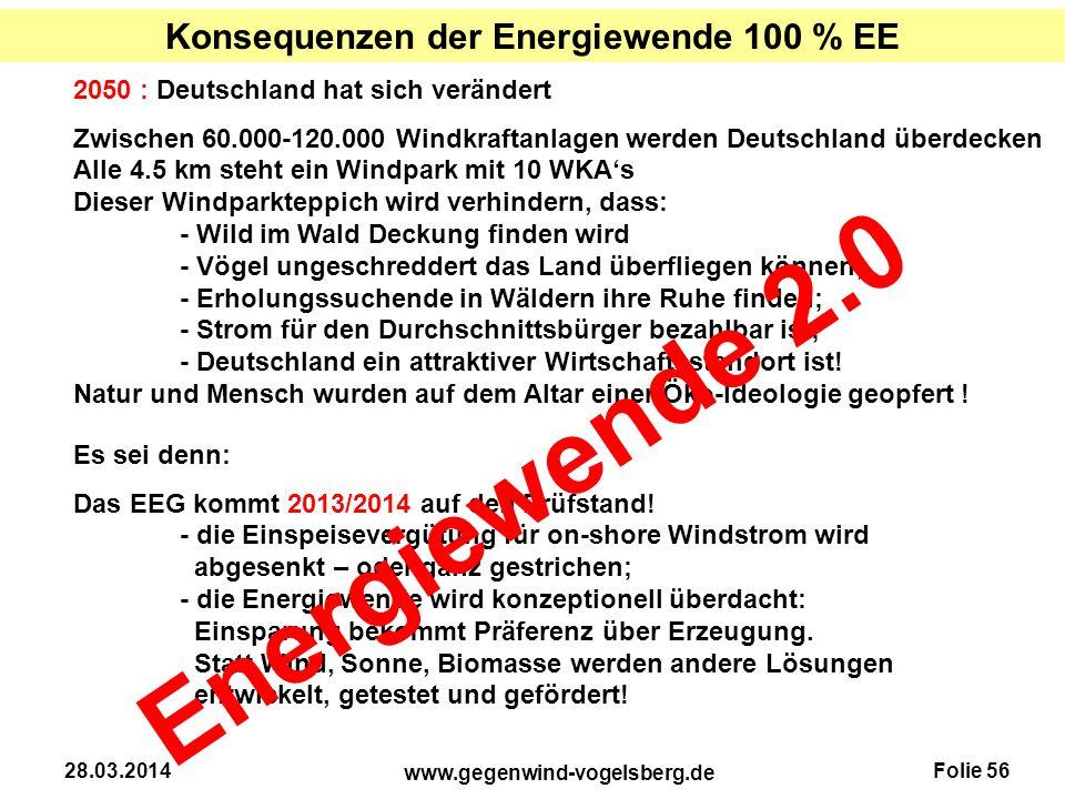 Konsequenzen der Energiewende 100 % EE