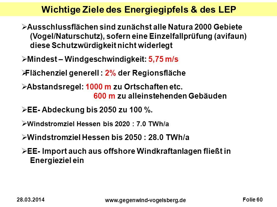 Wichtige Ziele des Energiegipfels & des LEP