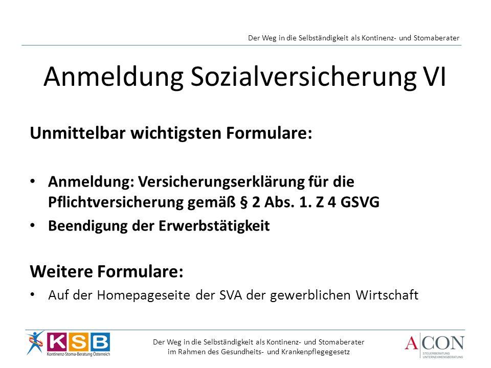 Anmeldung Sozialversicherung VI