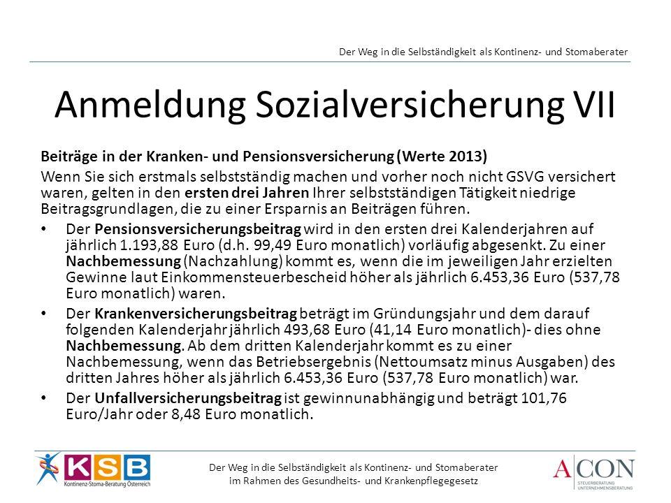 Anmeldung Sozialversicherung VII