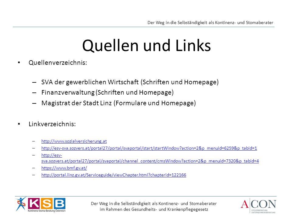 Quellen und Links Quellenverzeichnis: