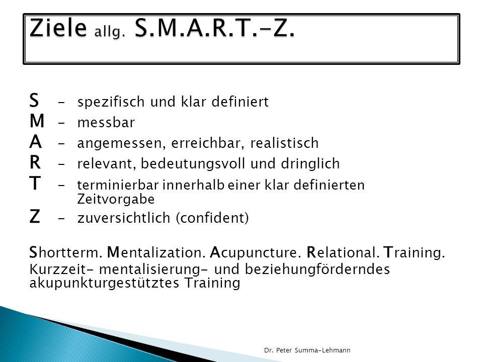 Ziele allg. S.M.A.R.T.-Z. S - spezifisch und klar definiert