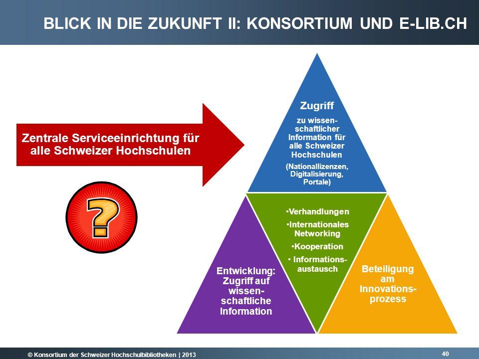 Blick in die Zukunft II: Konsortium und e-lib.ch