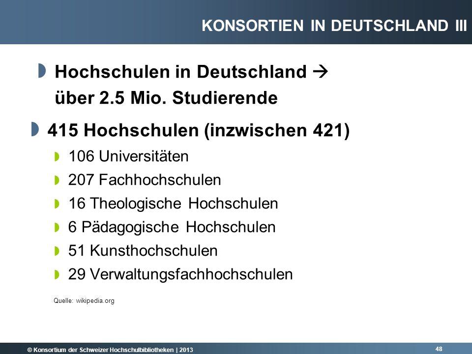 Hochschulen in Deutschland  über 2.5 Mio. Studierende