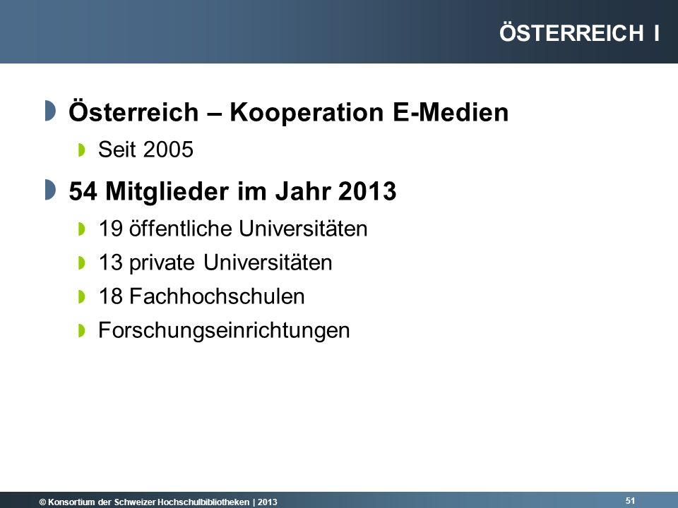 Österreich – Kooperation E-Medien 54 Mitglieder im Jahr 2013