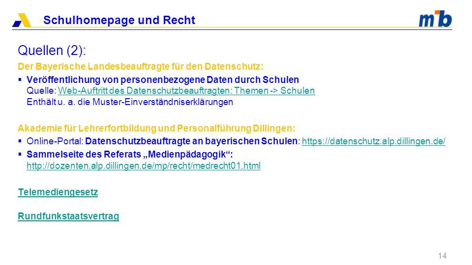 Quellen (2): Der Bayerische Landesbeauftragte für den Datenschutz:
