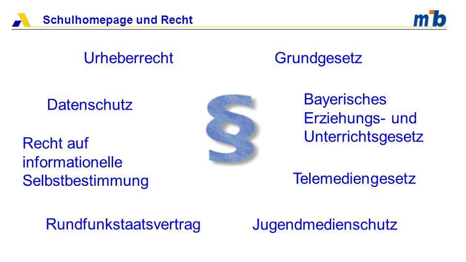 Urheberrecht Grundgesetz. Bayerisches Erziehungs- und Unterrichtsgesetz. Datenschutz. Recht auf informationelle Selbstbestimmung.