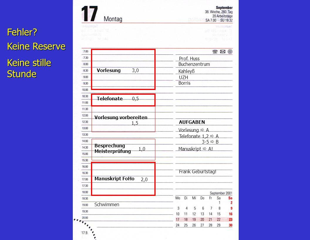 Beispiel für einen Tagesplan