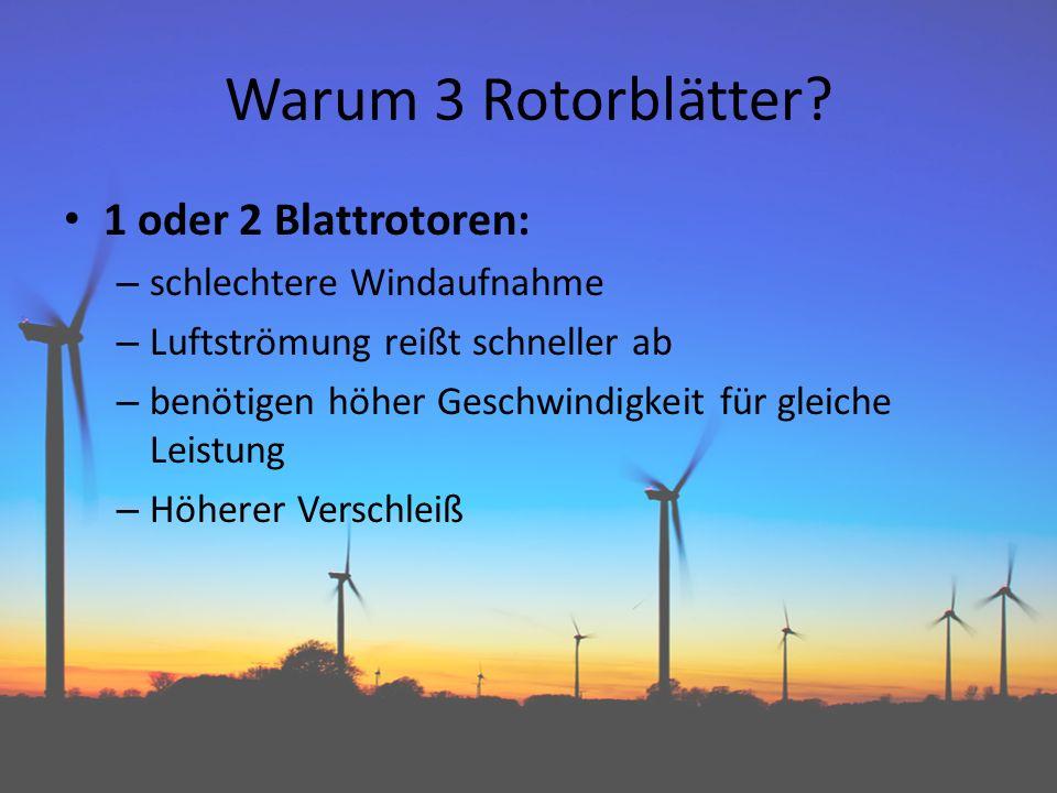 Warum 3 Rotorblätter 1 oder 2 Blattrotoren: schlechtere Windaufnahme