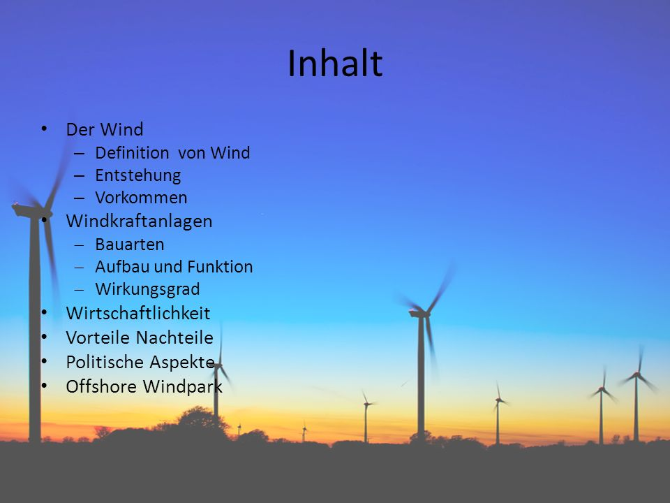 Windkraftanlagen prasentation