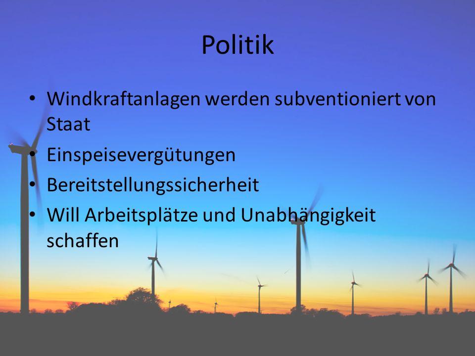Politik Windkraftanlagen werden subventioniert von Staat