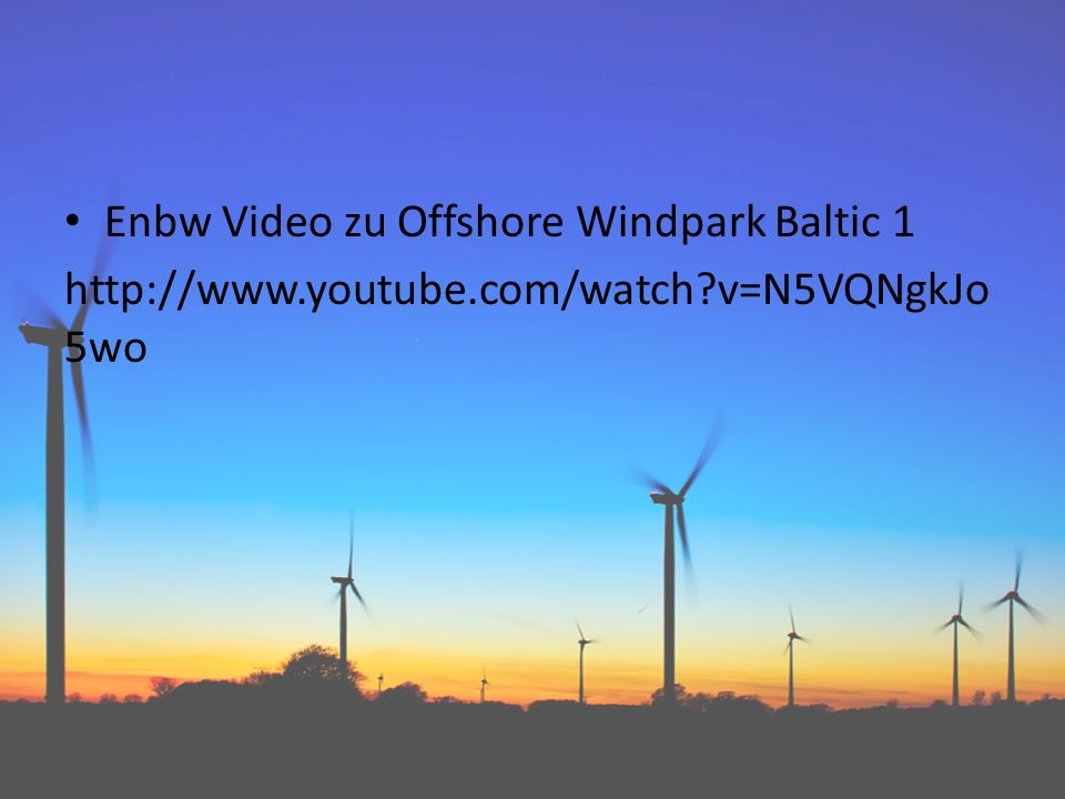 Enbw Video zu Offshore Windpark Baltic 1