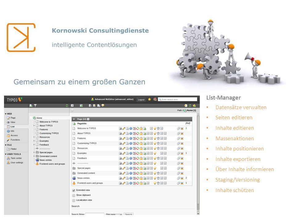List-Manager Datensätze verwalten Seiten editieren Inhalte editieren
