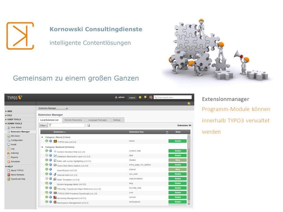 Extensionmanager Programm-Module können innerhalb TYPO3 verwaltet werden