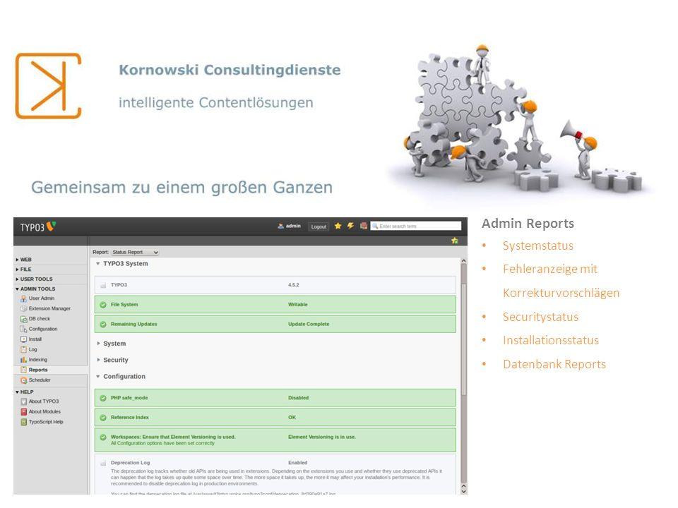 Admin Reports Systemstatus Fehleranzeige mit Korrekturvorschlägen