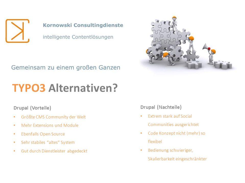 TYPO3 Alternativen Drupal (Vorteile) Drupal (Nachteile)