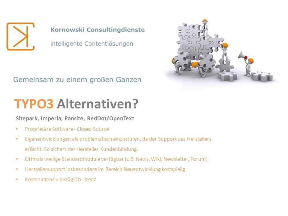 TYPO3 Alternativen Sitepark, Imperia, Pansite, RedDot/OpenText