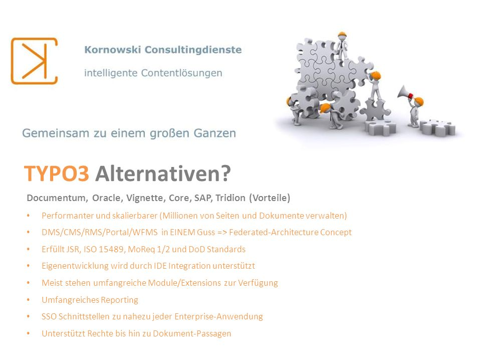 TYPO3 Alternativen Documentum, Oracle, Vignette, Core, SAP, Tridion (Vorteile)