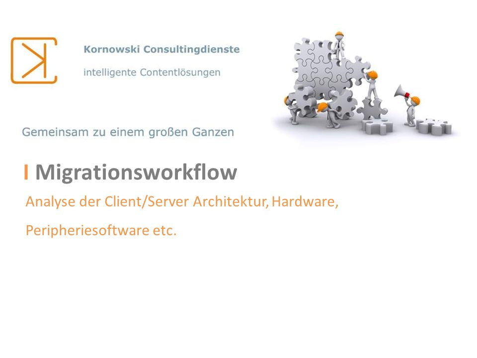 I Migrationsworkflow Analyse der Client/Server Architektur, Hardware, Peripheriesoftware etc.