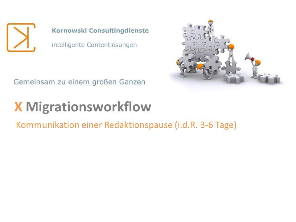 X Migrationsworkflow Kommunikation einer Redaktionspause (i.d.R. 3-6 Tage)