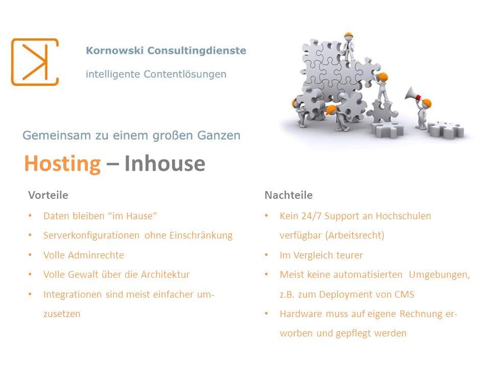 Hosting – Inhouse Vorteile Nachteile Daten bleiben im Hause