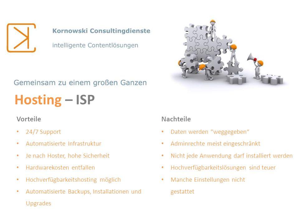 Hosting – ISP Vorteile Nachteile 24/7 Support