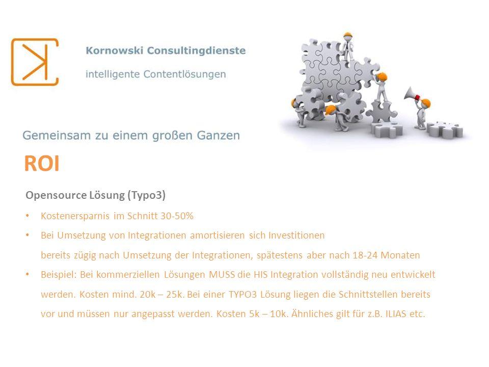 ROI Opensource Lösung (Typo3) Kostenersparnis im Schnitt 30-50%